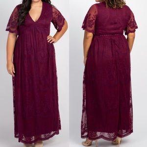 Maternity Lace Overlay Maxi Dress